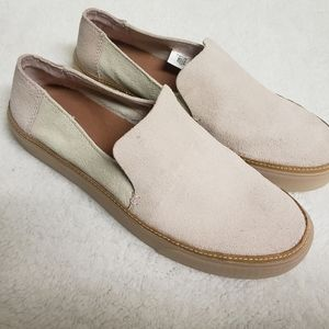 *TOM* 2-tone pink and natural gum sole slip-ons